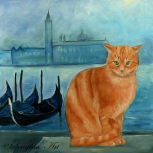 2013-01-239 Cat Venice Oil Painting