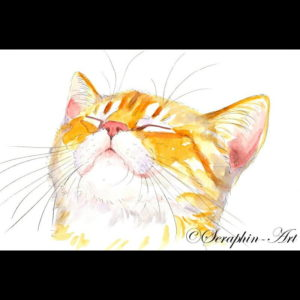 2012-02-026 Cat Watercolor Painting