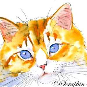2018-02-135 Cat Watercolor ACEO Painting