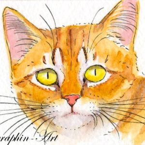 2018-02-202 Ginger Cat Watercolor ACEO Painting