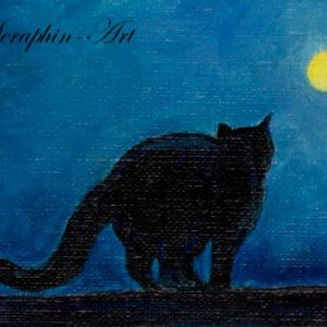 2018-02-221 Black Cat ACEO Painting