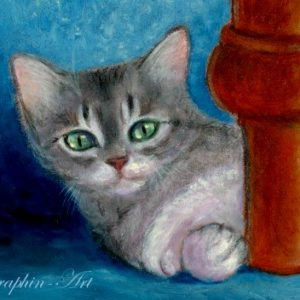 2018-03-072 Tabby Cat ACEO Oil Painting
