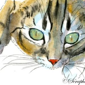 2018-04-194 Cat ACEO Watercolor Painting