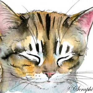 2018-05-042 Cat Watercolor ACEO Painting