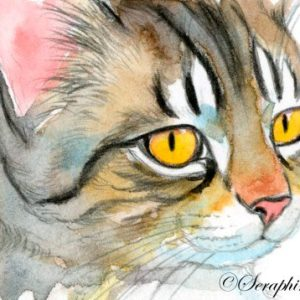 2018-05-381 Tabby Cat Watercolor Miniature Painting