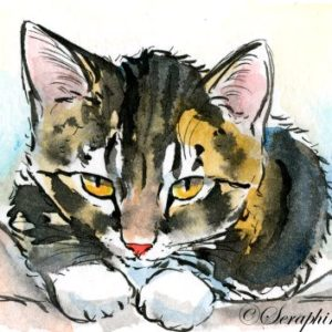 2018-06-082 Cat Watercolor ACEO Painting