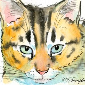 2018-06-122 Cat Watercolor ACEO Painting