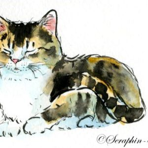 2018-06-140 Cat Watercolor ACEO Painting