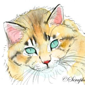 2018-07-046 Cat Watercolor Miniature Painting