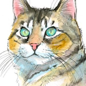 2018-07-083 Cat Watercolor Miniature Painting