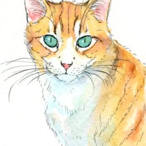2018-07-084 Cat Watercolor Miniature Painting