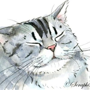 2018-07-135 Cat Watercolor Miniature Painting