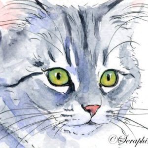 2018-08-041 Kitten Miniature Watercolor Painting