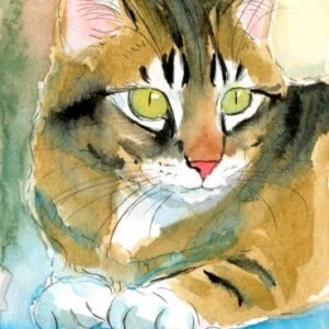 2018-08-061 Kitten Miniature Watercolor Painting