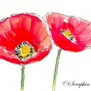 2018-10-285 Poppy Watercolor ACEO Painting