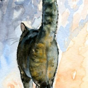 2018-10-302 Cat Watercolor ACEO Painting