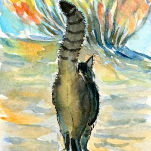 2018-10-304 Cat Watercolor ACEO Painting