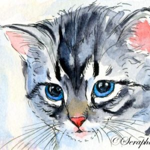 2018-10-305 Cat Watercolor ACEO Painting