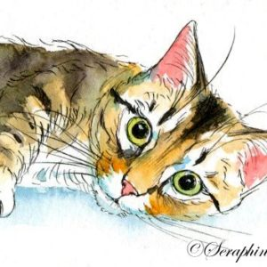 2018-10-323 Cat Watercolor ACEO Painting