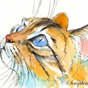 2018-10-326 Cat Watercolor ACEO Painting