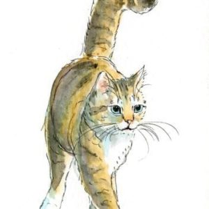 2018-10-327 Cat Watercolor ACEO Painting