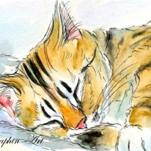 2018-10-328 Cat Watercolor ACEO Painting