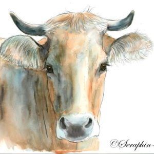 2018-11-213 Cow Watercolor Painting