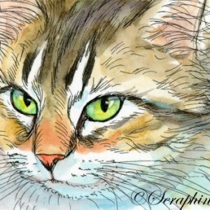2018-12-104 Cat ACEO Watercolor Painting