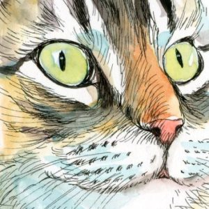 2018-12-105 Cat ACEO Watercolor Painting