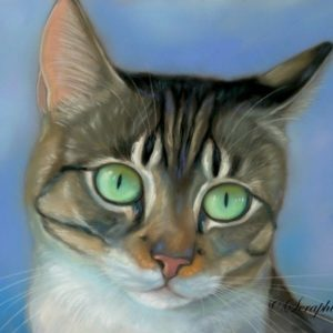2014-09-001 Tabby Cat Pastel Painting