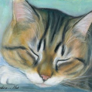 2019-06-042 Tabby Cat Miniature Pencil Painting