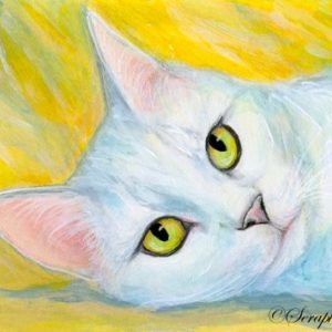 2019-06-048 White Cat ACEO Miniature Painting - Kopie