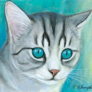 2019-07-001 Cat Miniature Pencil ACEO Painting
