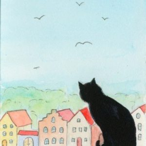 2019-07-002 Black Cat ACEO Watercolor Painting
