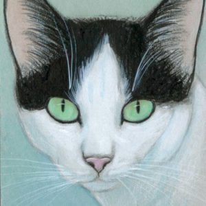 2019-07-015 Tuxedo Cat ACEO Miniature Painting