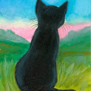 2019-07-021 Black Kitten Watercolor ACEO Painting