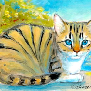 2019-07-027 Cat Acrylic ACEO Miniature Painting