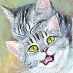 2019-07-029 Kitten Acrylic ACEO Miniature Painting