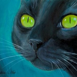 2019-07-031 Black Cat Acrylic ACEO Painting