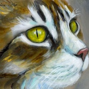 2019-07-033 Cat Miniature ACEO Painting