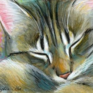 2019-07-034 Tabby Cat ACEO Miniature Painting