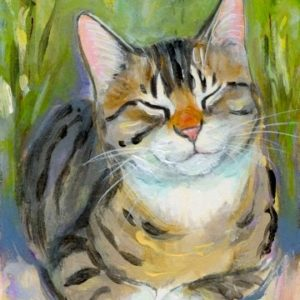 2019-07-035 Tabby Cat Miniature ACEO Painting