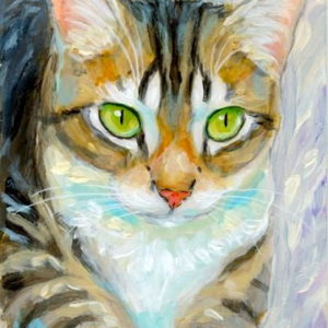 2019-07-036 Tabby Cat Miniature ACEO Painting