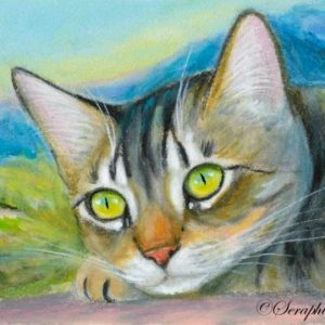 2019-07-045 Tabby Cat Miniature ACEO Painting