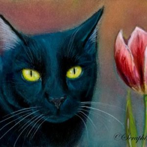 2019-07-046 Black Cat ACEO Miniature Painting