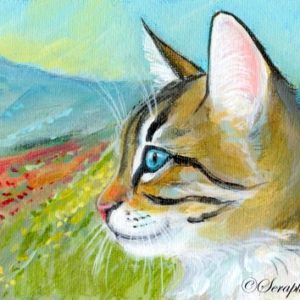 2019-08-002 Tabby Kitten ACEO Acrylic Painting