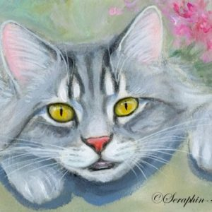 2019-08-003 Grey Tabby Cat ACEO Painting
