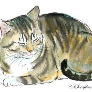 2019-08-041 Cat Watercolor ACEO Painting