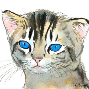 2019-08-045 Cat Watercolor ACEO Painting