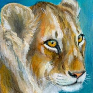 2019-08-068 Lion Acrylic ACEO Painting
